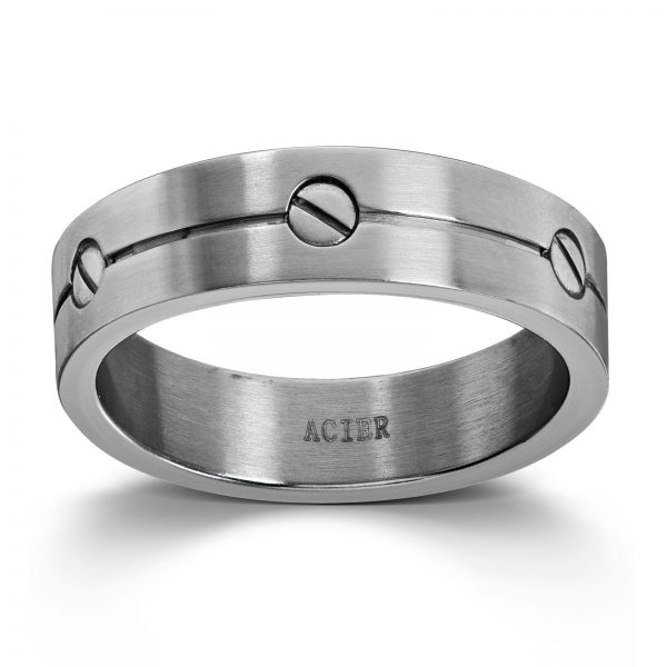 Mestergull Tøff ring i stål med skruer MESTERGULL Ring