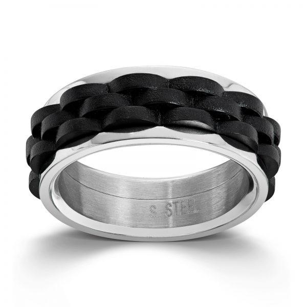 Mestergull Tøff ring i stål med sort innlegg MESTERGULL Ring