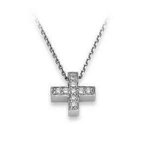 Mestergull Flott kjede, kors, i rhodinert sølv med cubic zirkonia VIVENTY Kjede