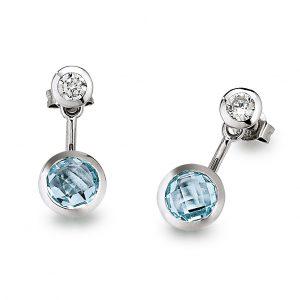 Mestergull Flott ørepynt i rhodinert sølv med blå topas og cubic zirkonia VIVENTY Ørepynt