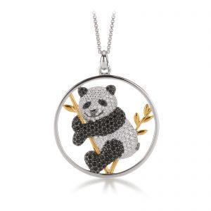 Mestergull Trendy anheng, Panda, i rhodinert sølv med forgylte detaljer og hvite og sorte cubic zirkonia VIVENTY Anheng