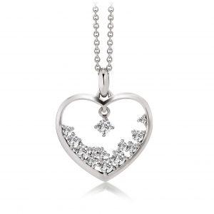 Mestergull Vakkert hjerteanheng i rhodinert sølv med cubic zirkonia VIVENTY Anheng