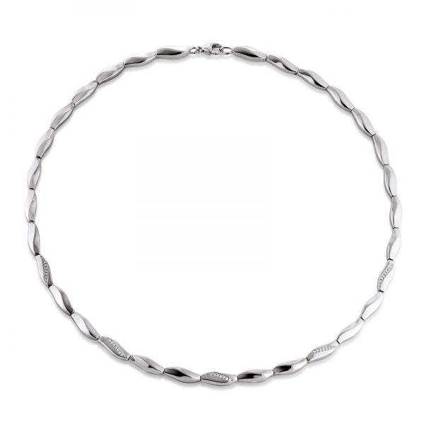 Mestergull Enkelt collier i rhodinert sølv med cubic zirkonia VIVENTY Kjede