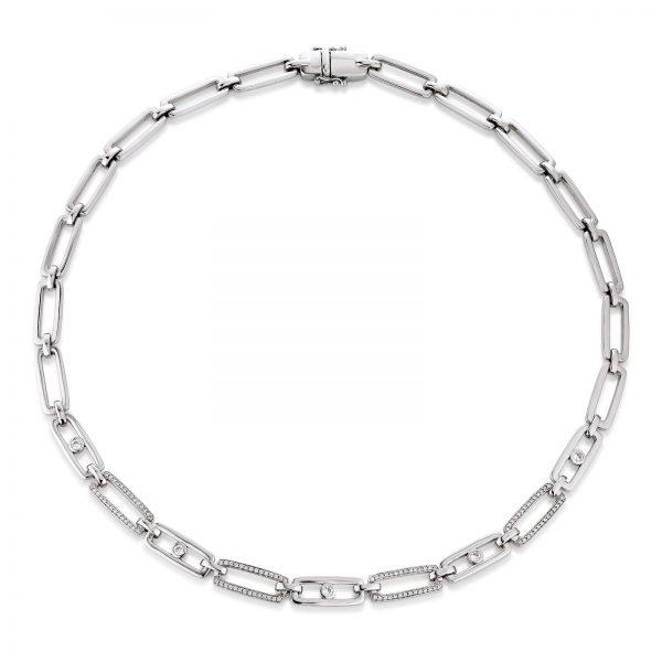 Mestergull Elegant collier i rhodinert sølv med cubic zirkonia VIVENTY Kjede