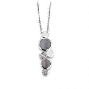 Mestergull Lekkert anheng i rhodinert sølv med grå syntetisk månesten og cubic zirkonia VIVENTY Anheng