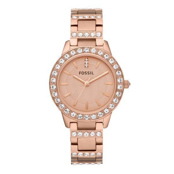 Mestergull Denne matte og skinnende rose gull-tone IP rustfritt stål uret summerer chic stil. FOSSIL Ur