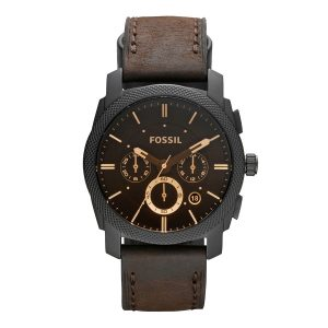 Mestergull Nydelig klokke med en børstet rustfritt stål svart IP-urkasse og en brun lærrem. FOSSIL Ur