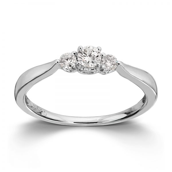 Mestergull Klassisk frieri og forlovelses ring i hvitt gull med diamanter MG DIAMONDS Ring