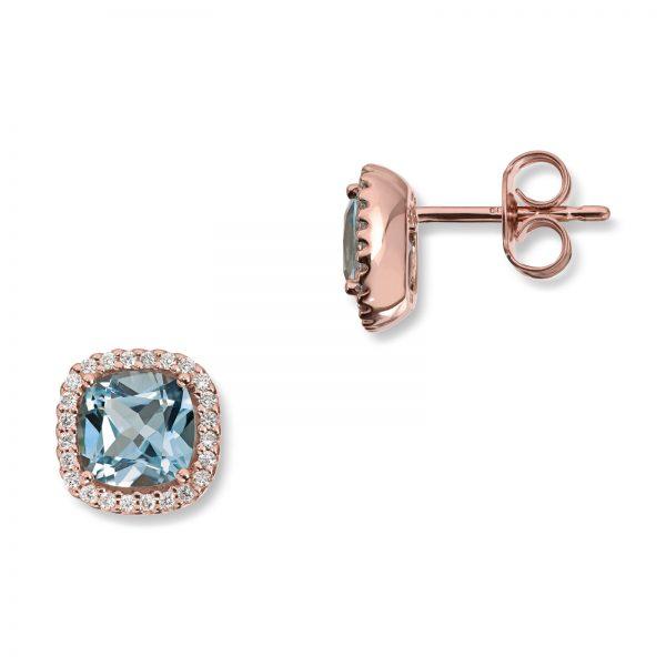 Mestergull Delikat ørepynt i rosègull med blå topas og diamanter MG DIAMONDS Ørepynt