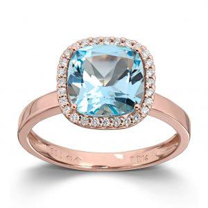 Mestergull Delikat Ring i rosègull med blå topas og diamanter MG DIAMONDS Ring