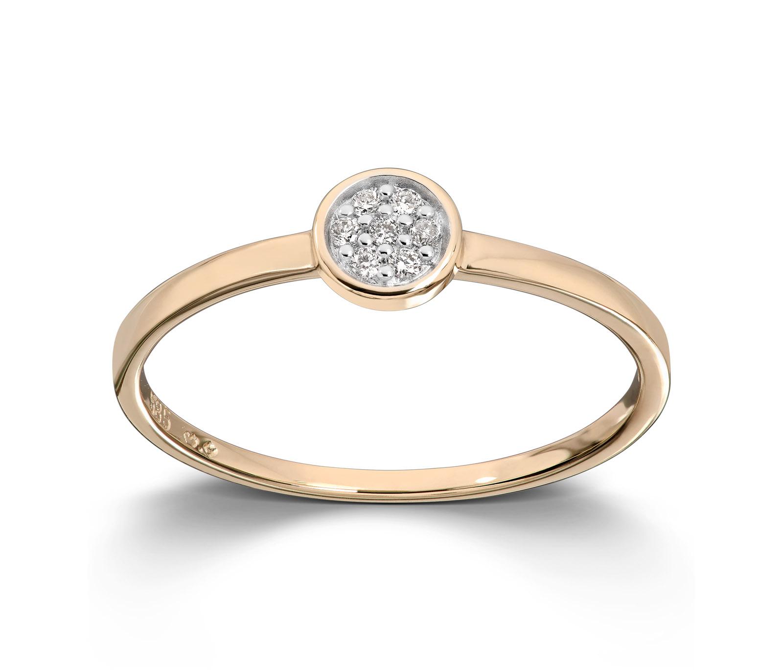 Mestergull Stilren ring i gult gull med diamanter MESTERGULL Ring