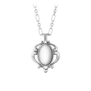 Mestergull Heritage Anheng i oksidert sølv med sølvsten GEORG JENSEN Heritage Anheng