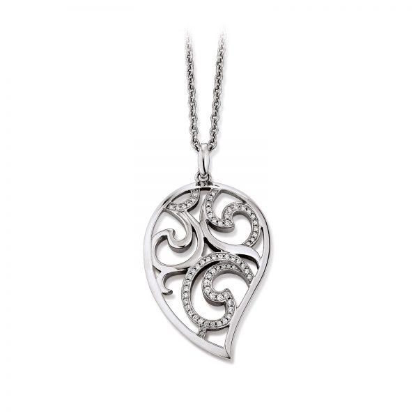 Mestergull Floralt anheng i rhodinert sølv med cubic zirkonia VIVENTY Anheng