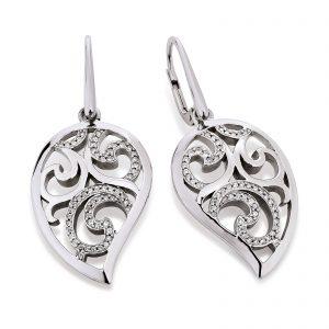Mestergull Floral ørepynt i rhodinert sølv med cubic zirkonia VIVENTY Ørepynt