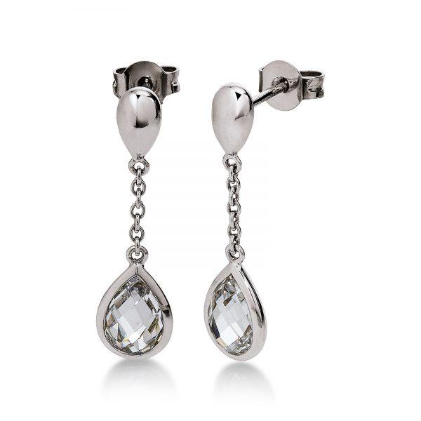 Mestergull Elegant ørepynt i rhodinert sølv med cubic zirkonia VIVENTY Ørepynt