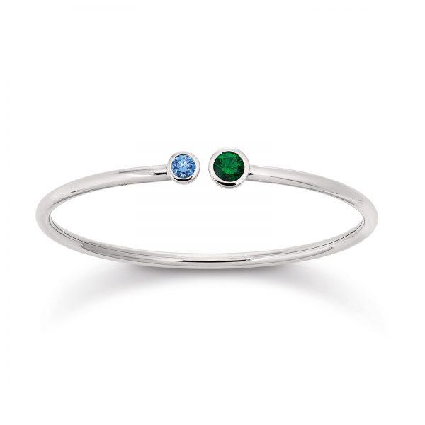 Mestergull Flott armring i rhodinert sølv med blå og grønn cubic zirkonia VIVENTY Armring