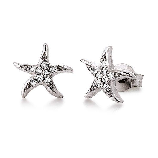 Mestergull Flott ørepynt med stjerne i rhodinert sølv med cubic zirkonia VIVENTY Ørepynt