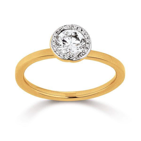 Mestergull Elegant ring i forgylt sølv med cubic zirkonia VIVENTY Ring