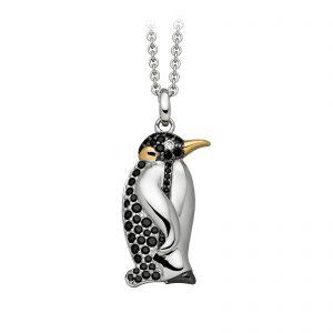 Mestergull Trendy anheng, pingvin, i rhodinert sølv med sorte cubic zirkonia og forgylte detaljer VIVENTY Anheng