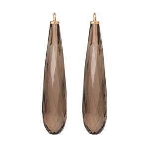 Mestergull Vedheng til ørepynt i 18 kt. Gult gull med røkkvarts dråpe 30x7 mm. LYNGGAARD Ørepynt