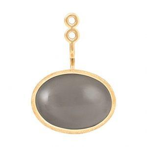 Mestergull Vedheng til Lotus ørepynt i 18kt. gult gull med grå månesten - selges enkeltvis LYNGGAARD Lotus Ørepynt