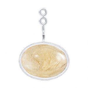 Mestergull Vedheng til Lotus ørepynt i 18 kt. Hvitt gull med rutilkvarts. Selges enkeltvis. LYNGGAARD Lotus Ørepynt