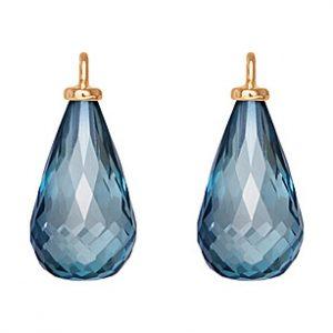 Mestergull Vedheng til ørepynt med london blå topas. 18 kt. Gult gull krok. 12x7 mm dråpe. Par. LYNGGAARD Ørepynt