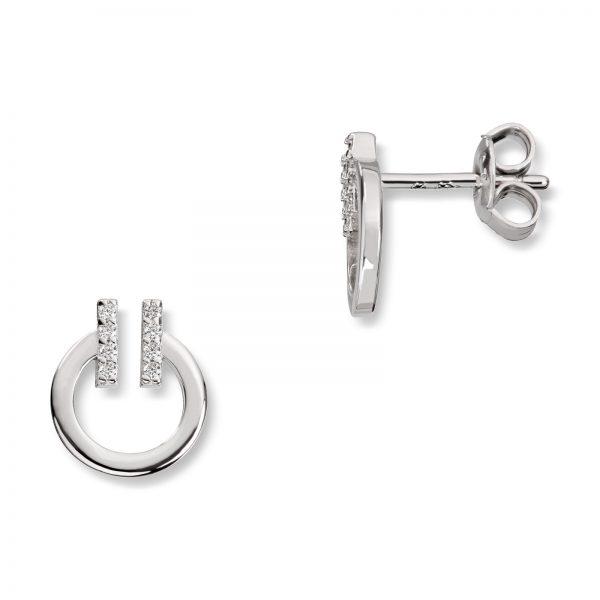 Mestergull Flott ørepynt i rhodinert sølv med cubic zirkonia GID Ørepynt