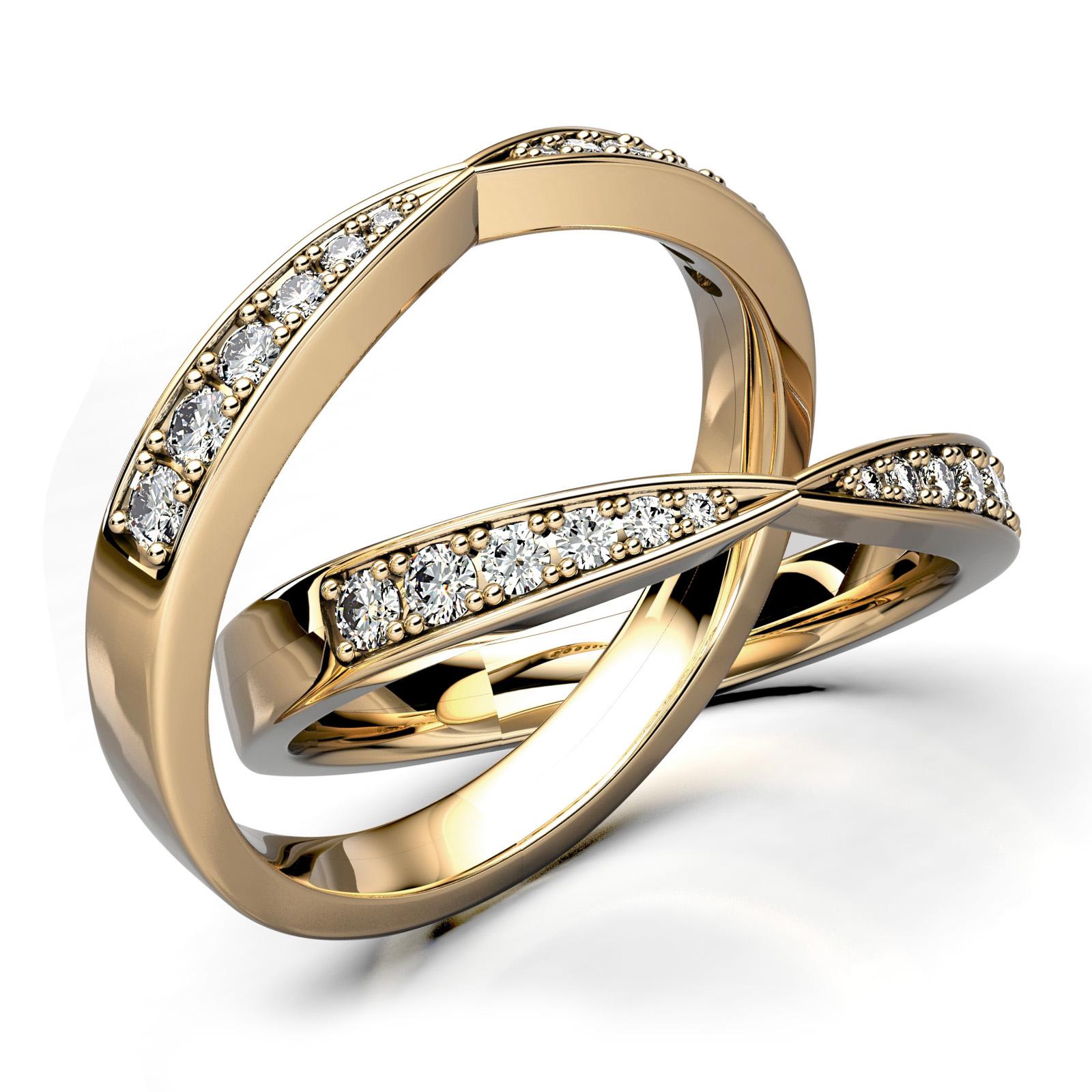Mestergull Spennende ring med diamanter i forløp utviklet etter skisse fra kunde. Ringen er utført i gult gull 585 i massiv utførelse og fattet med 12 diamanter. Toalt 0,154 ct. HSI DESIGN STUDIO Spesialdesign Ring