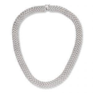 Mestergull Vakket collier i rodinert sølv med crystaller MESTERGULL Kjede