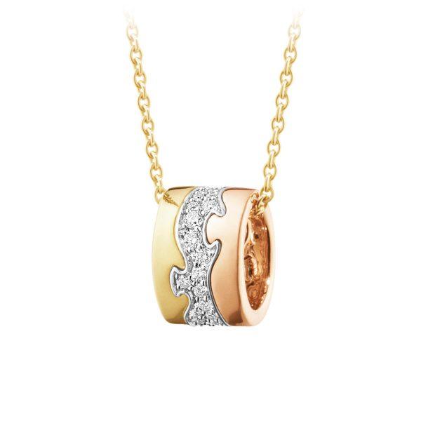 Mestergull Fusion anheng i gult gull, rosegull og hvitt gull med diamanter GEORG JENSEN Fusion Anheng