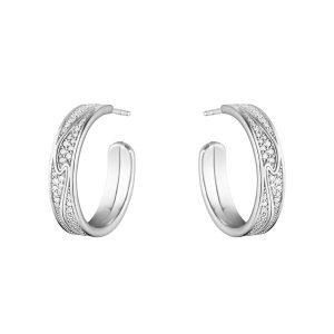 Mestergull Fusion store øreringer i hvitt gull med diamanter GEORG JENSEN Fusion Ørepynt