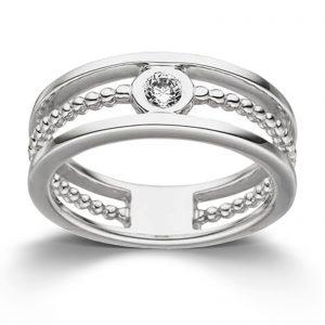 Mestergull Stilful ring i rhodinert sølv med cubic zirkonia VIVENTY Ring