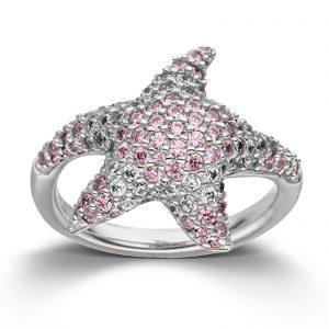 Mestergull Tøff ring i rhodinert sølv med hvite og rosa cubic zirkonia VIVENTY Ring