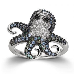 Mestergull Tøff ring i rhodinert sølv med cubic zirkonia i flere farger VIVENTY Ring