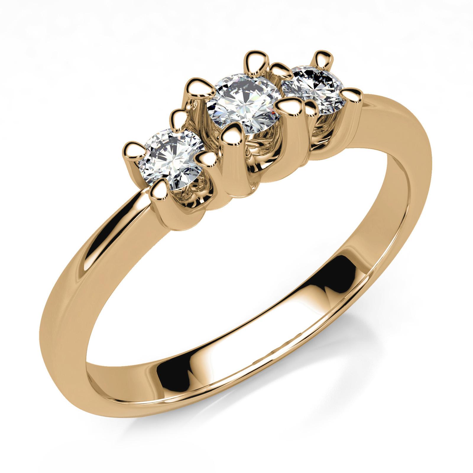 Mestergull Trestens ring i gult gull 585 med gjenbruk av kundens diamanter. Totalt 0,18 ct. HSI DESIGN STUDIO Spesialdesign Ring