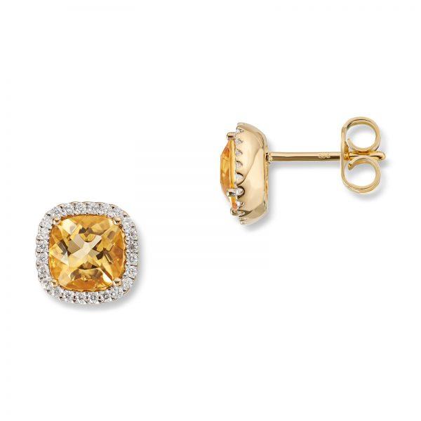 Mestergull Elegant ørepynt i gult gull med citrin og diamanter MG DIAMONDS Ørepynt