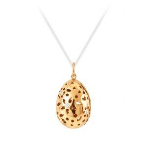 Mestergull Lace Anheng i 18 kt. gult gull med 7 diamanter totalt 0,11ct. TwVs LYNGGAARD Lace Anheng