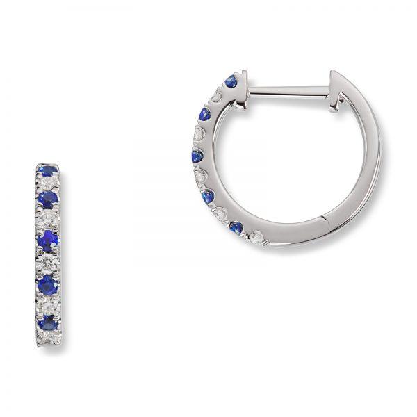 Mestergull Trendy øreringer i hvitt gull med safir og diamanter MG DIAMONDS Ørepynt