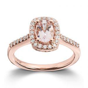 Mestergull Elegant ring i rosè gull med morganitt og diamanter MG DIAMONDS Ring