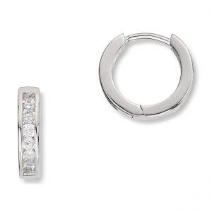 Mestergull Trendy øreringer i rhodinert sølv med cubic zirkonia MESTERGULL Ørepynt
