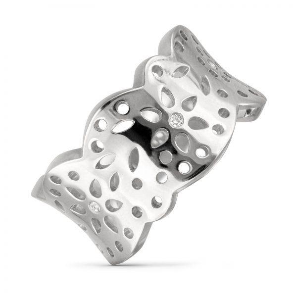 Mestergull Lace Ring medium i 18 kt. hvitt gull med 4 diamanter totalt 0,04 ct. TwVs, blank overflate LYNGGAARD Lace Ring