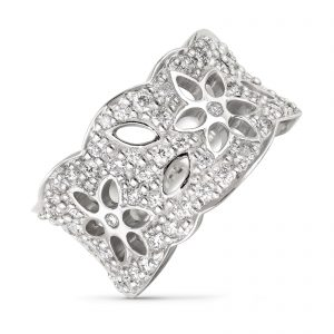 Mestergull Lace Ring medium i 18 kt. hvit gull med 63 diamanter totalt 1,13 ct. TwVs LYNGGAARD Lace Ring