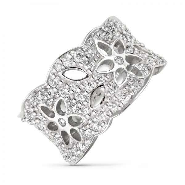 Mestergull Lace Ring medium i 18 kt. hvit gull med 63 diamanter totalt 1,13 ct. TwVs LYNGGAARD Lace Ring