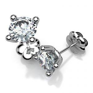 Mestergull Hvitt gull ørepynt Mill med 2 diamanter à 0,50 ct. DESIGN STUDIO Spesialdesign Ørepynt