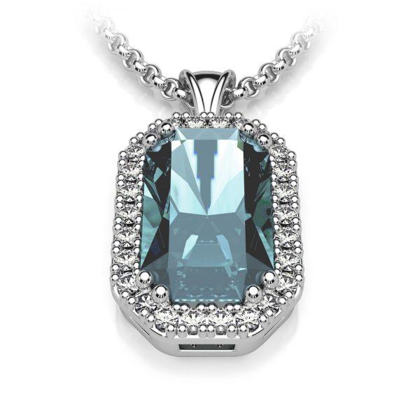 Mestergull Anheng i hvitt gull 585 spesialdesignet til kundens blå topas. Anhenget er omkranset med 26 diamanter. Totalt 0,26 ct. HSI DESIGN STUDIO Spesialdesign Anheng