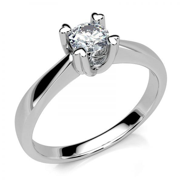 Mestergull Lekker enstensring i hvitt gull 585 med diamant på 0,24 ct. i river farge VS. Massiv ring med klør i hjerteform som holder diamanten - luftig og elegant DESIGN STUDIO Spesialdesign Ring