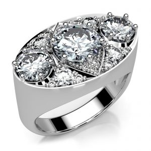Mestergull Ring i hvitt gull 585 rekonstruert etter tapt orginal. Ringen er fattet med 17 diamanter, totalt 3,08 ct. HSI DESIGN STUDIO Spesialdesign Ring