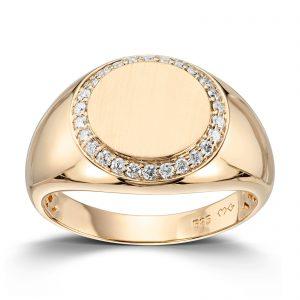 Mestergull Trendy signet ring i gult gull med diamanter MG DIAMONDS Ring