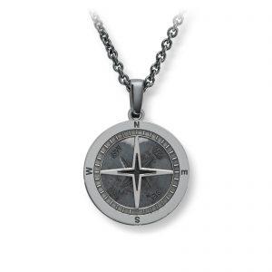Mestergull Flott anheng i oksidert sølv - kompass MESTERGULL Anheng